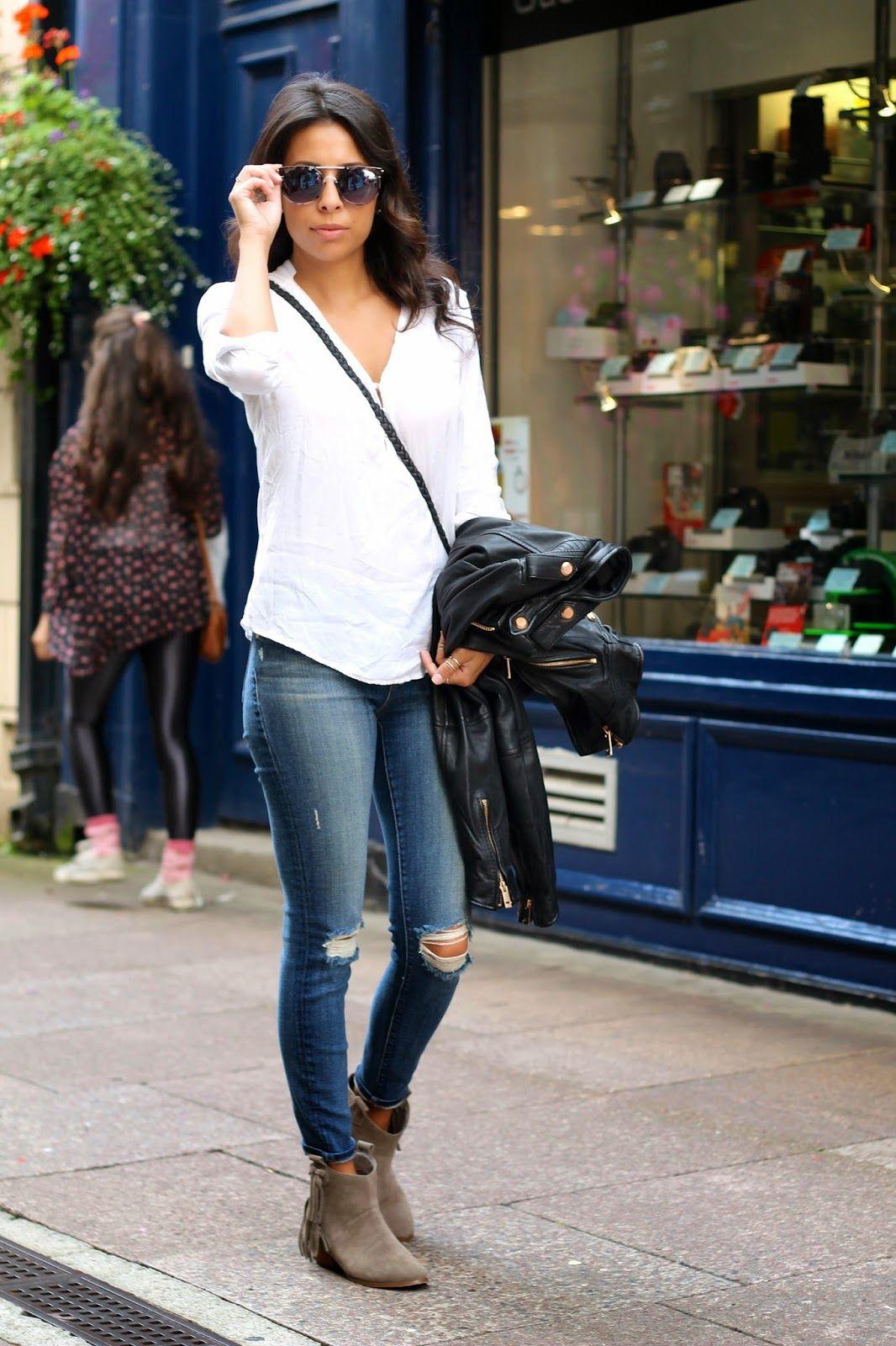 Gray booties, white button down, jeans, black jacket   Ireland ...