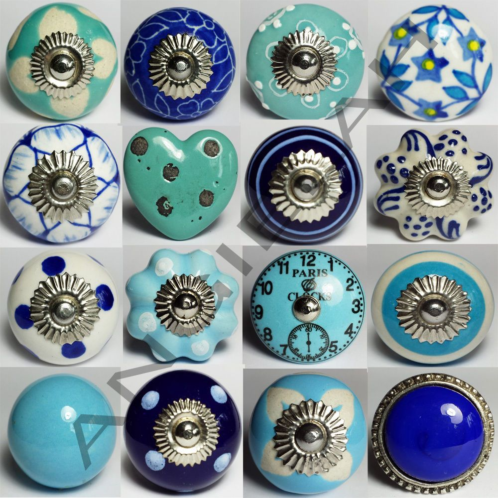 Antique door pulls knobs - Blue Ceramic Door Knobs Mix Match Vintage Shabby Chic Handles Cupboard Drawer
