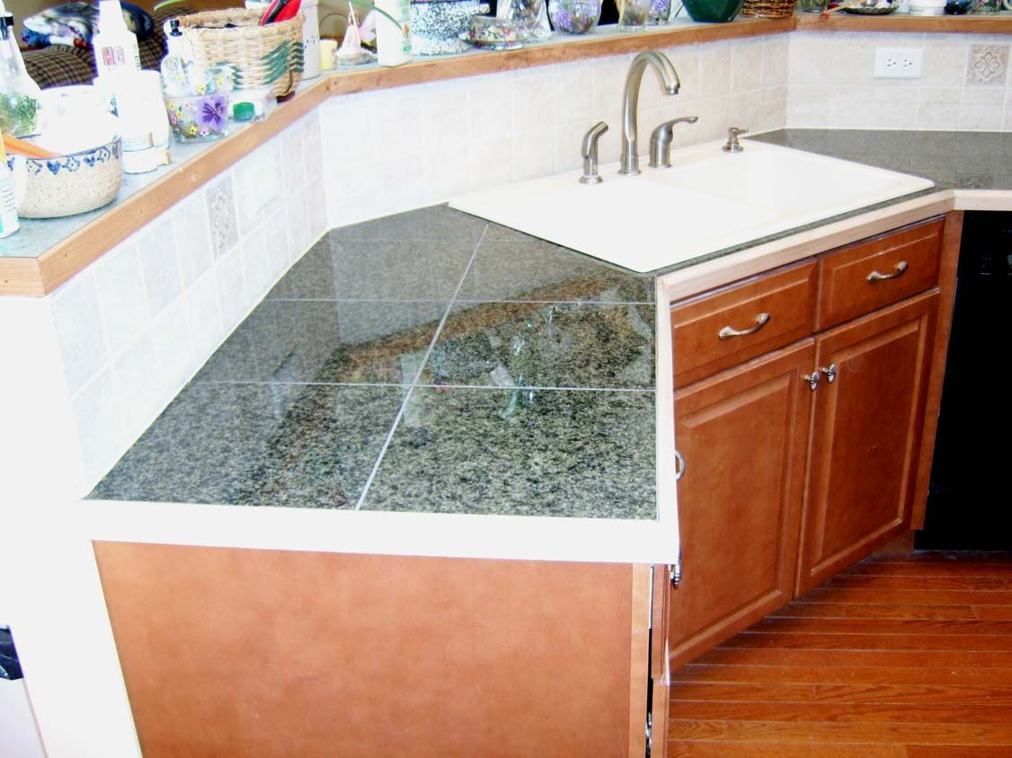 Corner Sink W Granite Tile Diy Kitchen Countertops Tile Countertops Tile Countertops Kitchen
