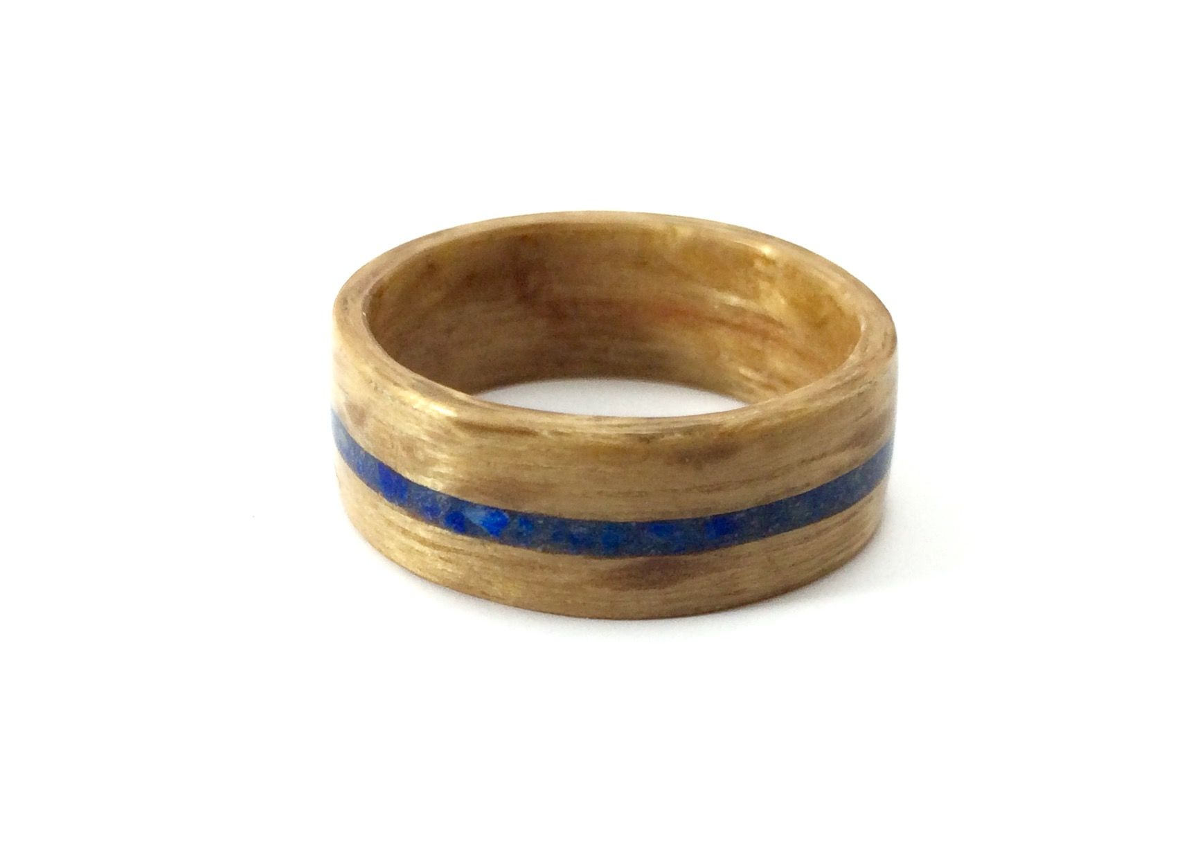 Lacewood bentwood ring with a lapis chip inlay