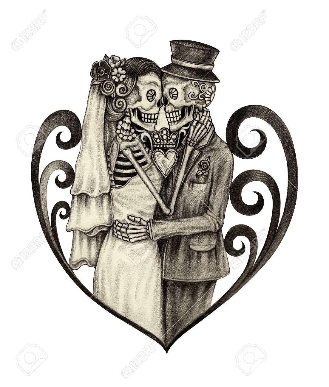 4b08f10b5 Skull art wedding day of the dead festival. Hand pencil drawing on paper.  #tattoo