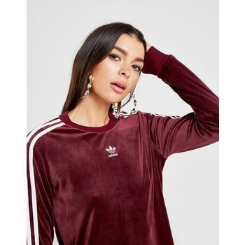Adidas Originals 3 Stripes Velvet Long Sleeve California T Shirt