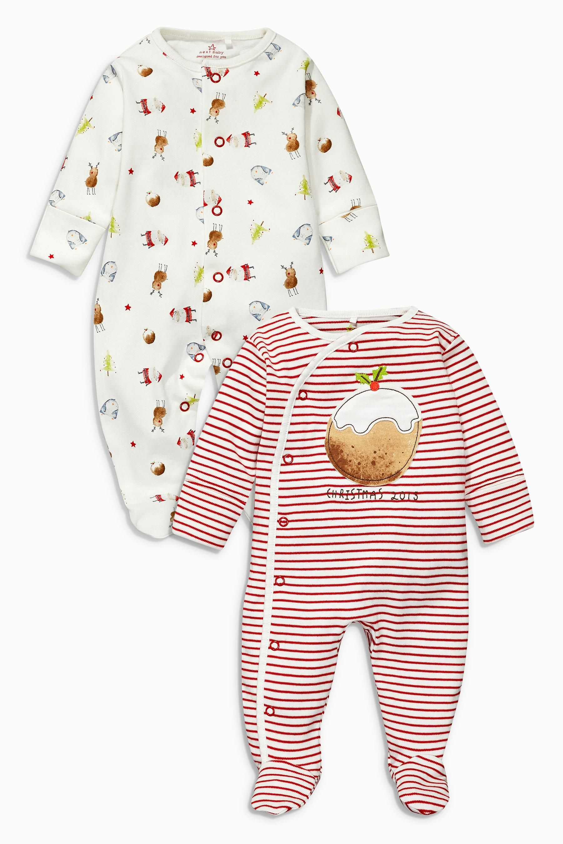 Buy Red Christmas Pudding Sleepsuits Two Pack 0 18mths from the