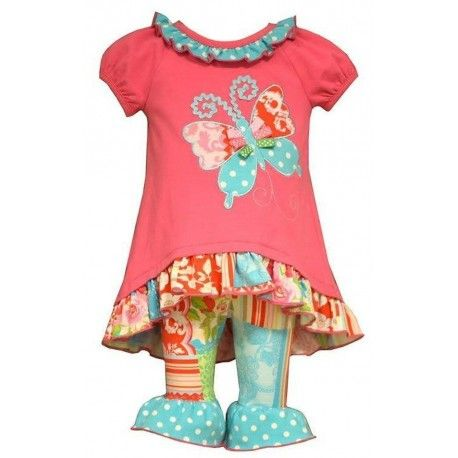 b8e7bcd62fc1 Bonnie Jean Girls Butterfly Coral Pink Top   Leggings Outfit Set ...