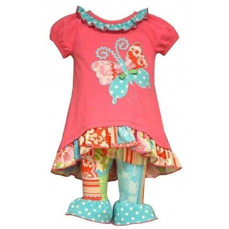 Bonnie Jean Girls Butterfly Printed Knit Playwear Set