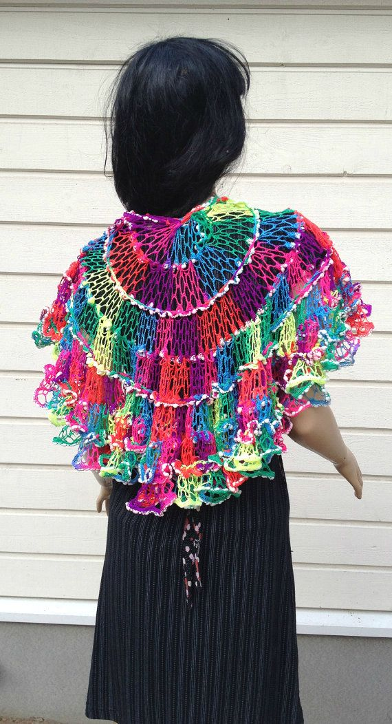 Crochet Sashay Neon Shawl, ruffle scarf, elegant wrap, multicolored ...