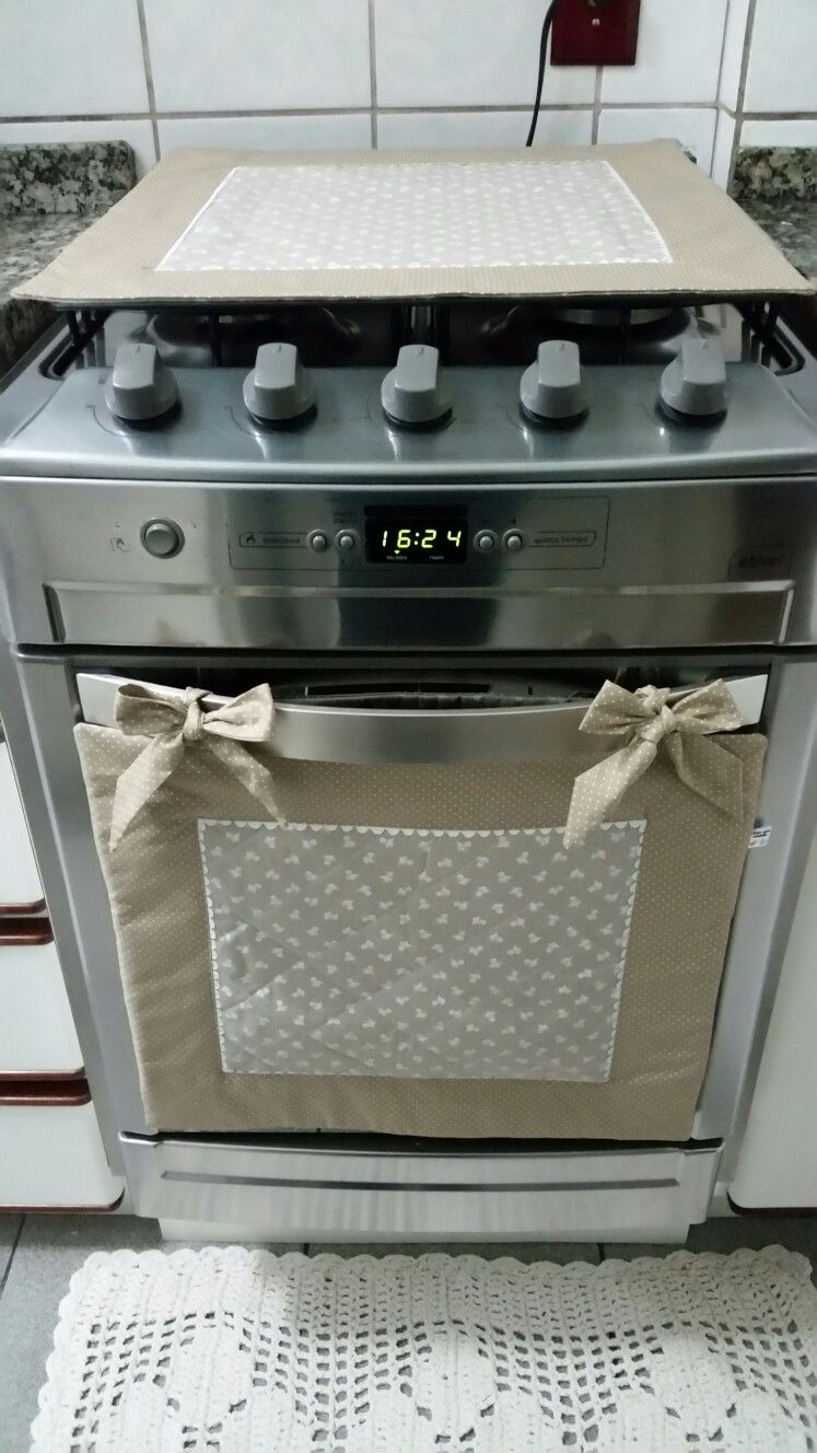 Kit Fogao Com Toalha E Pano Artesanato Para Cozinha Tampa De Fogao