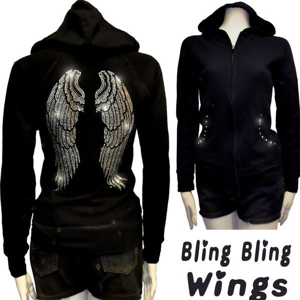 124bb3e17cb488 Junior Plus Size Bling Bling Angel Wings Rhinestone Hoodie Sweater ...