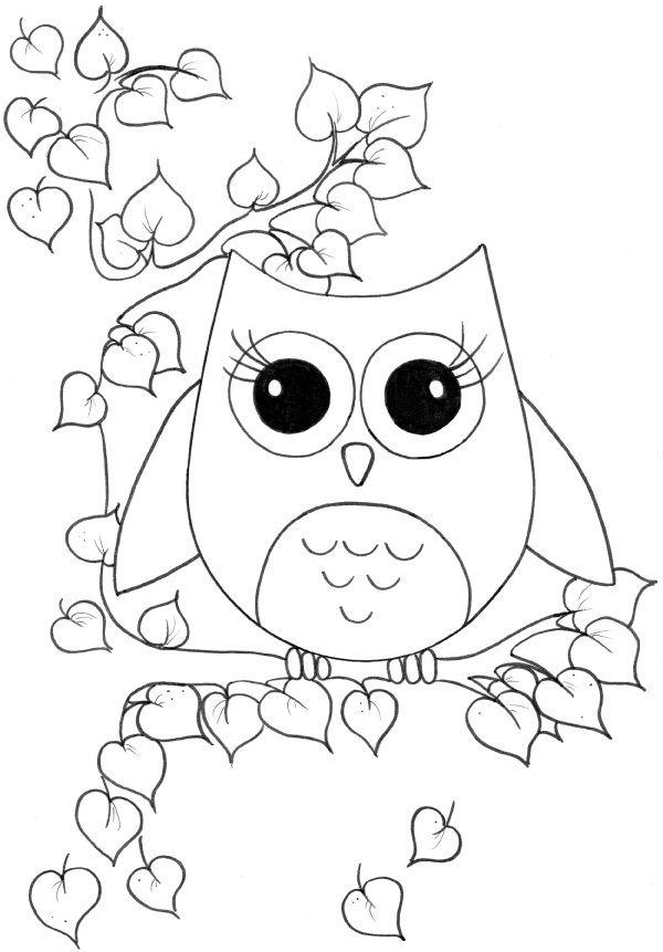 Owl Alighted In Trunk Dengan Gambar Buku Mewarnai Lembar