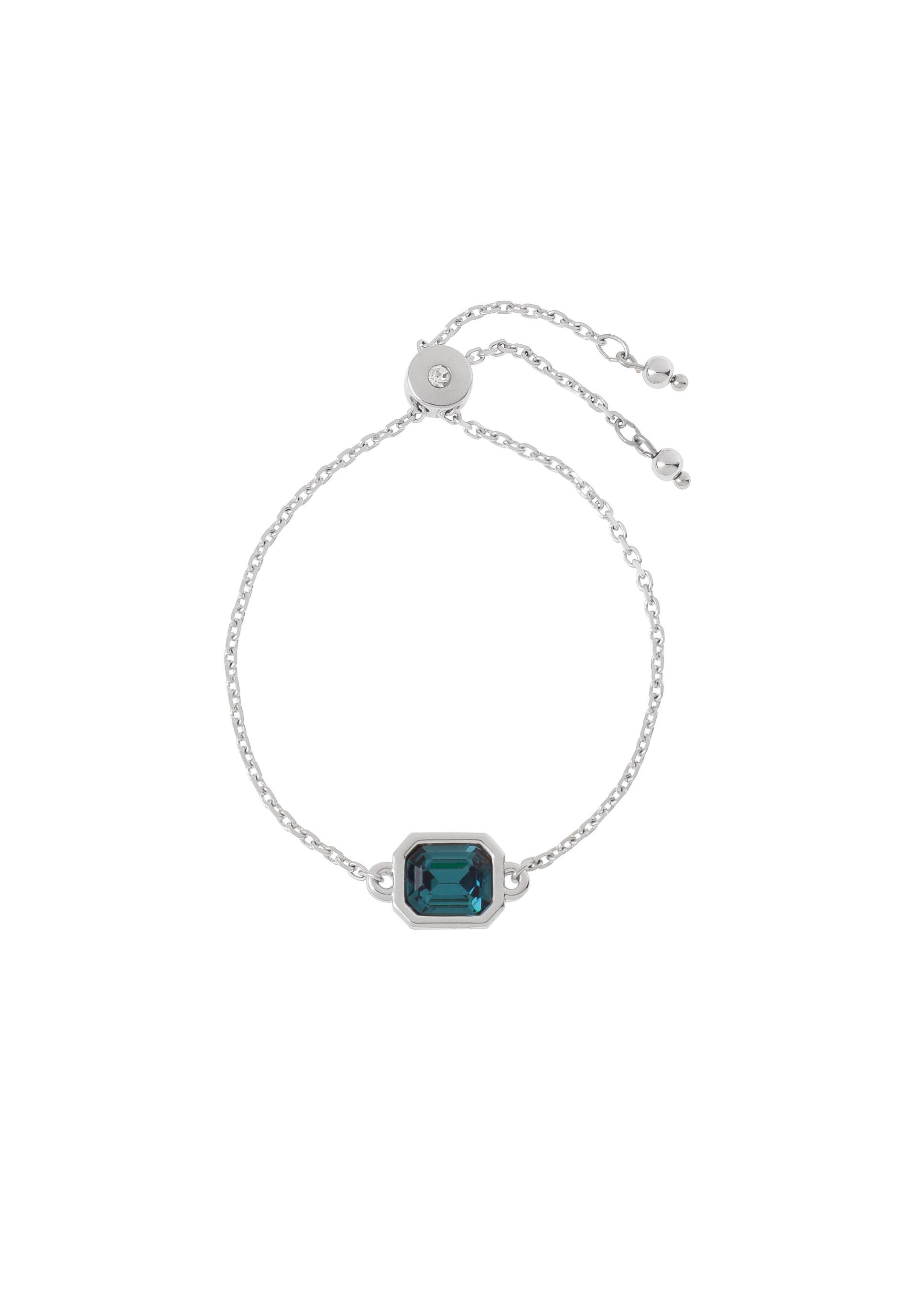 cc58329e4282 Pulsera 218038 Pulsera de medida ajustable en baño de rodio con piedra  color azul.