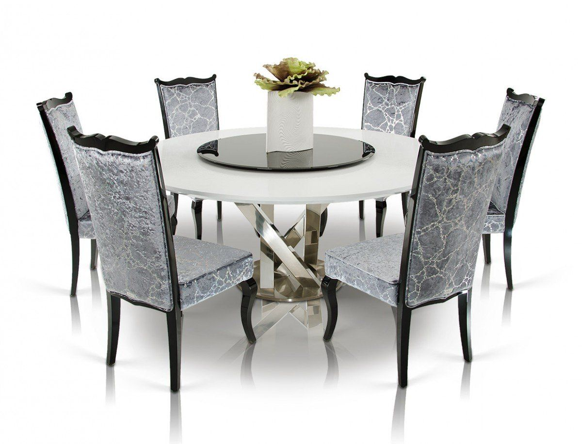 A X Spiral Modern Round White Dining Table With Lazy Susan In 2019