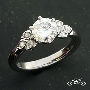 Custom Made Platinum Diamond Engagement Ring with Leaf ...