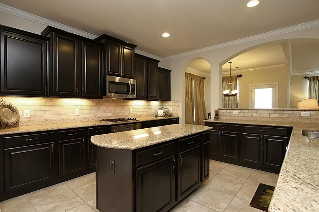 Yellow Kitchen With Dark Brown Cabinets 14707 Yellow Begonia Dr Cypress, Tx 77433: Photo Granite
