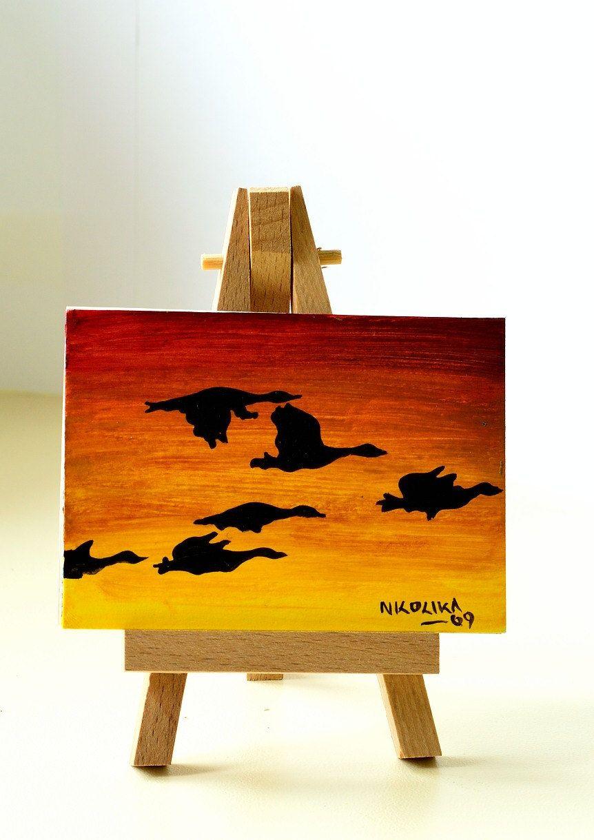 Aceo artist trading cards miniature art flight at