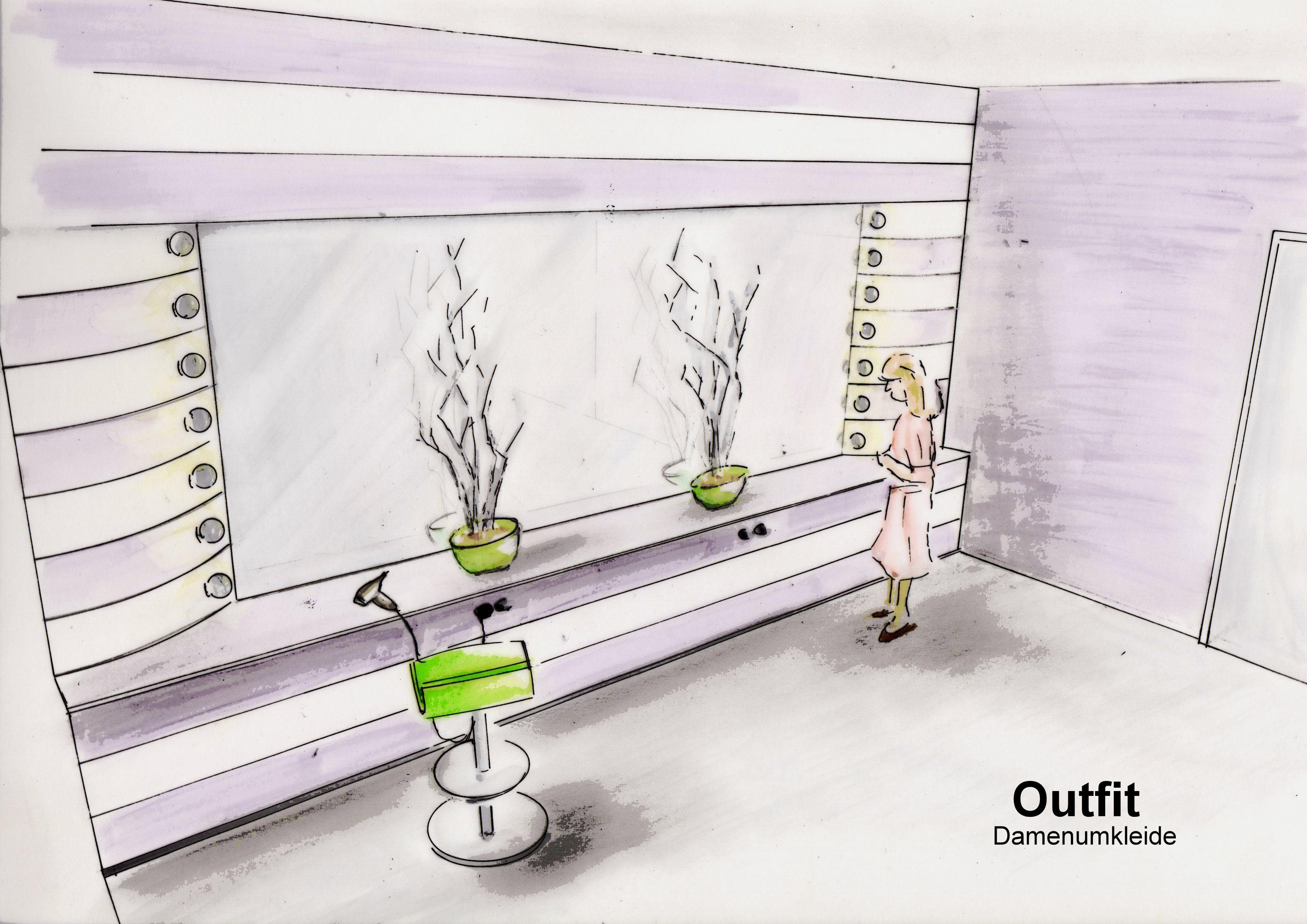 entwurf spiegelwand umkleide sportcenter | zeichnungen, skizzen und