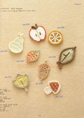...Fazendo Crochê...: Frutinhas para aplicação