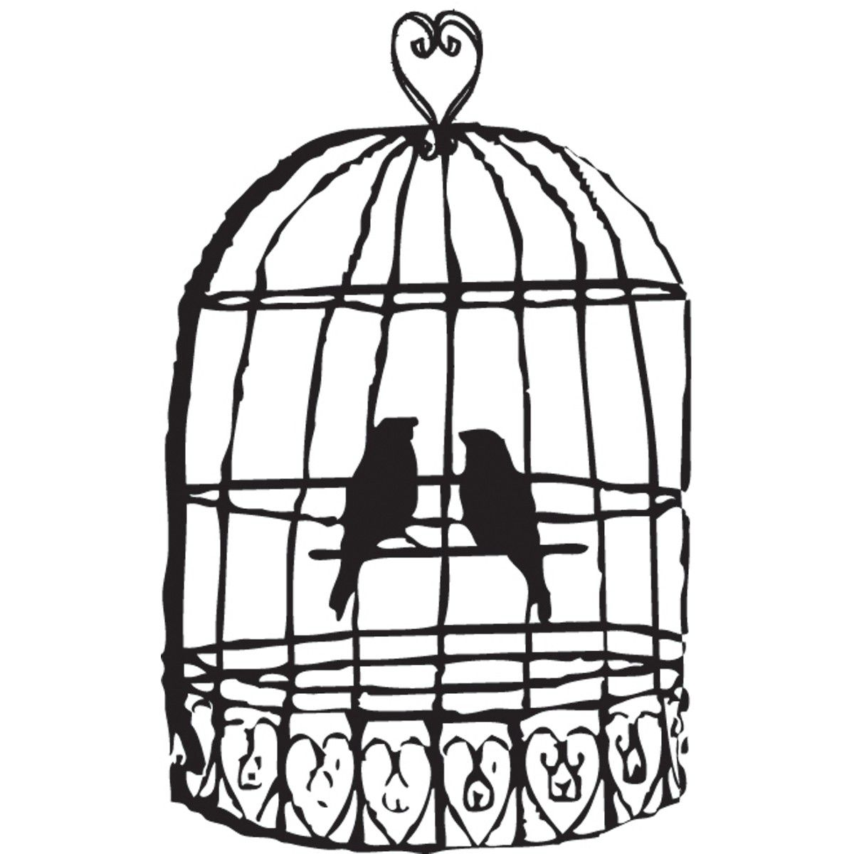 Black And White Clipart Birdcage