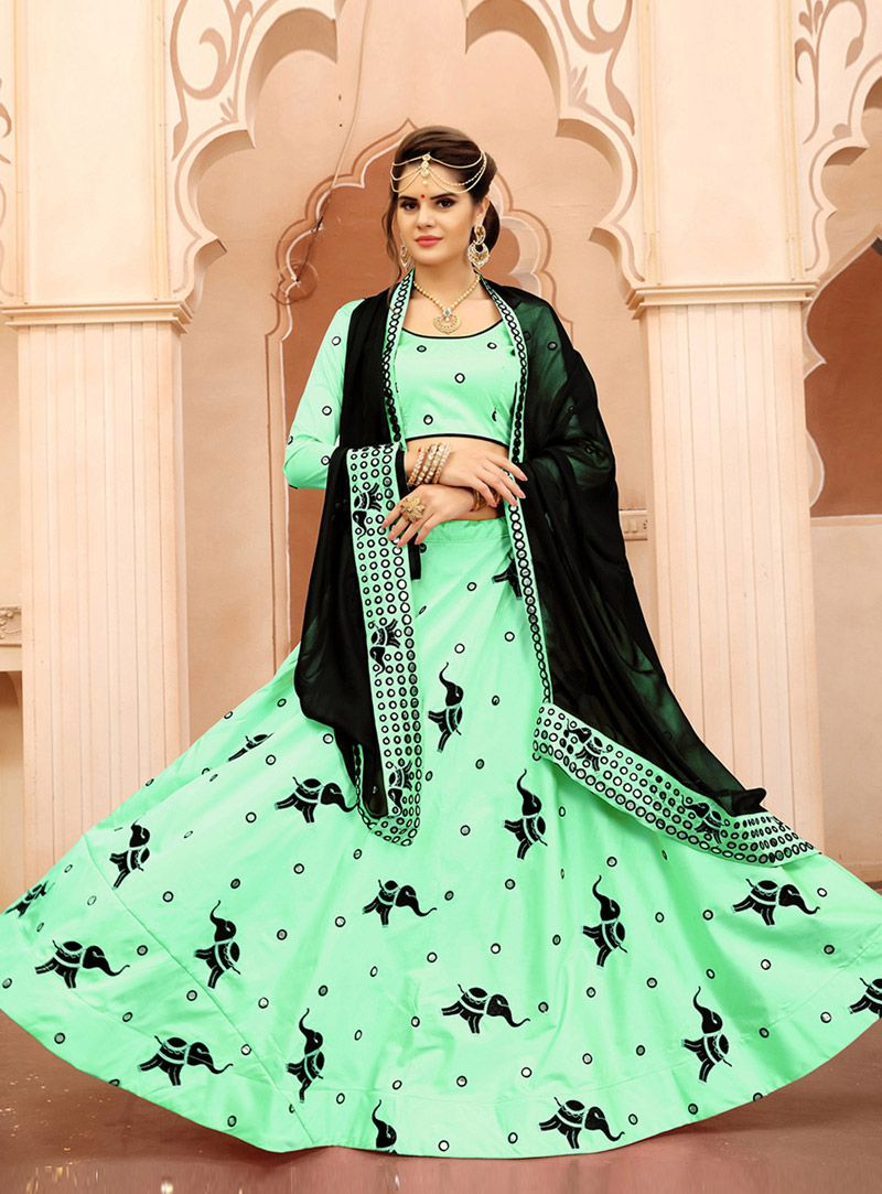 Sea green silk a line lehenga choli beauty and the beast