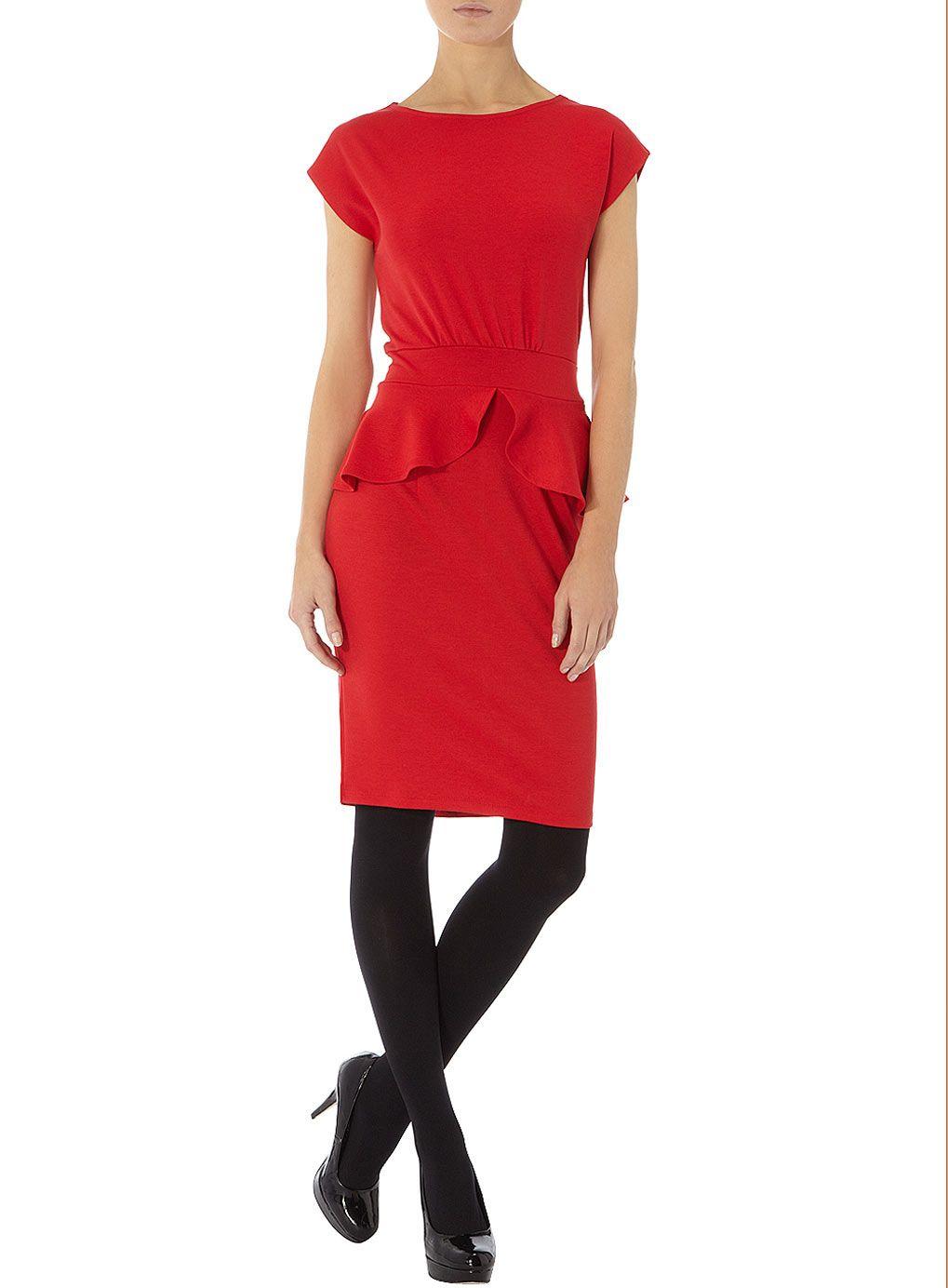 Red ponte peplum dress