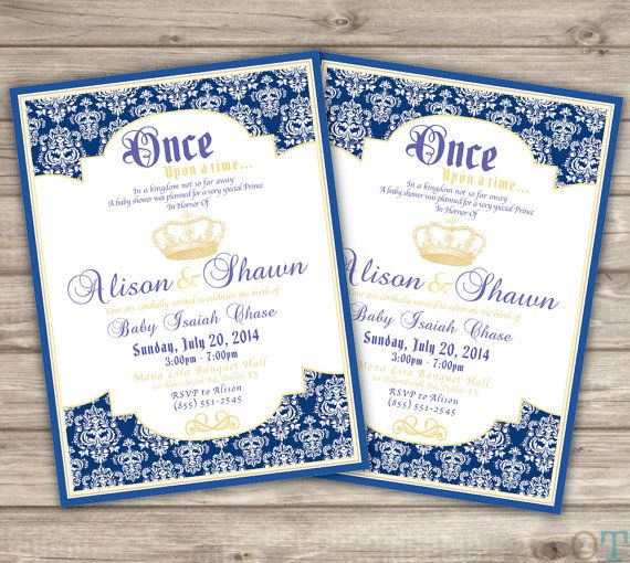 Printable Baby Shower Invitations Royal Navy Blue And Cold Crown