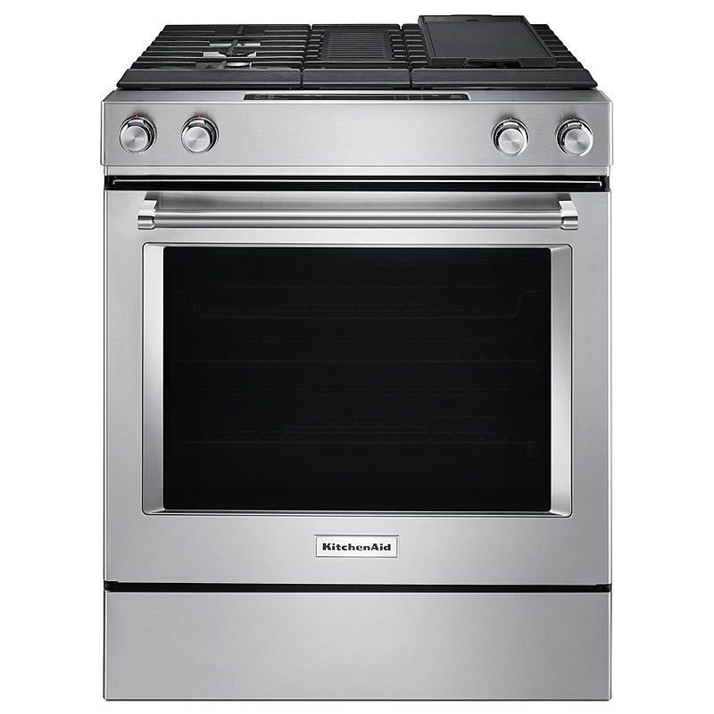 kitchenaid ksdg950ess 6 4 cu ft 4 burner downdraft dual fuel range rh pinterest com
