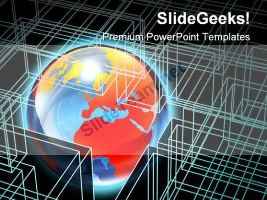 Globe In Box Wire Frame Global Powerpoint Templates And Powerpoint