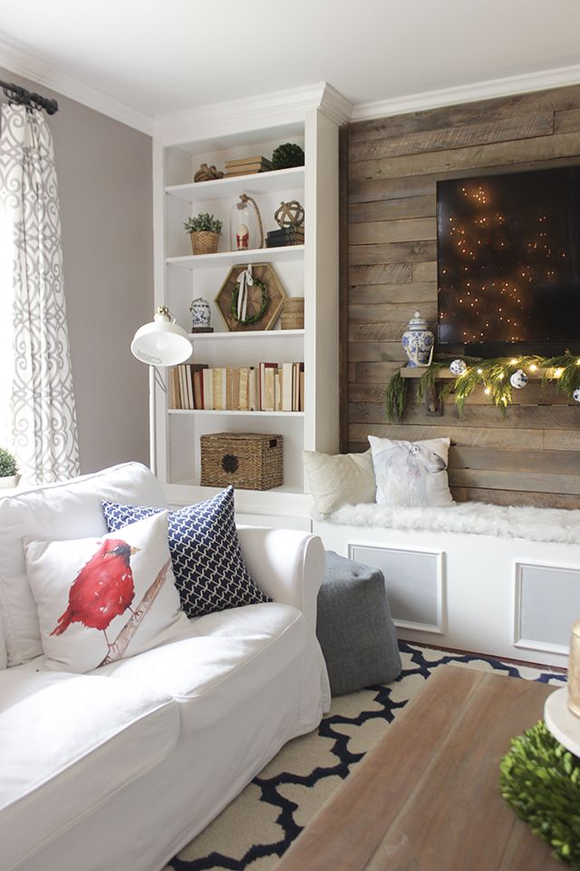 Bookcases converted into built-ins and pallet accent walllove it - muebles de pared