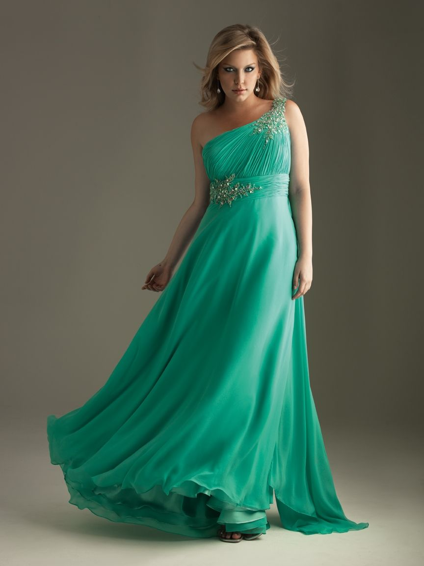 Classical empire one shoulder floorlength plus size prom