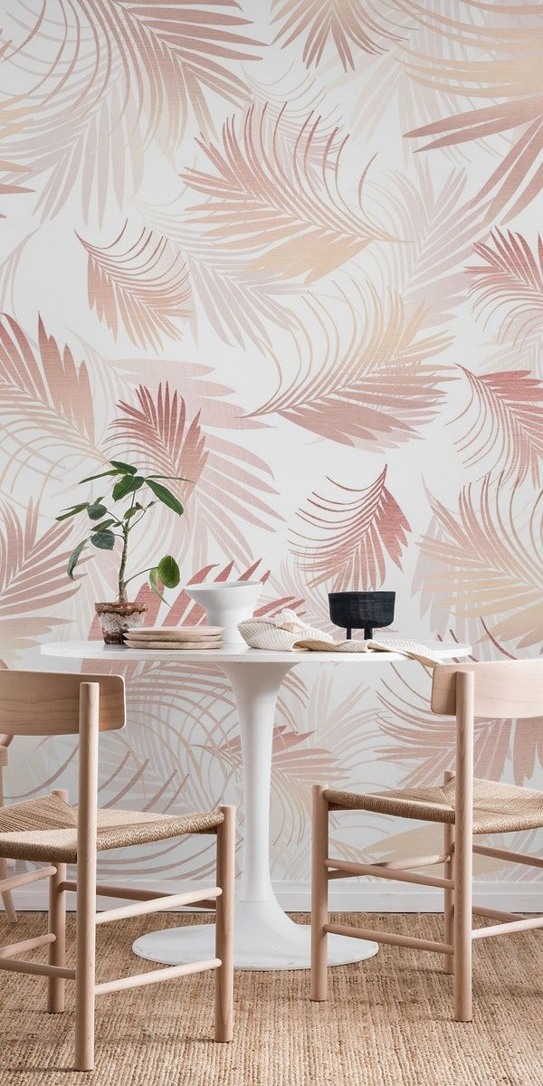 Tropical Rose Gold Palms 1 Wall Mural From Happywall Interiordecor Trendy Calivibe Mural Homedecor Ros Palm Trees Wallpaper Tree Wallpaper Palm Wallpaper