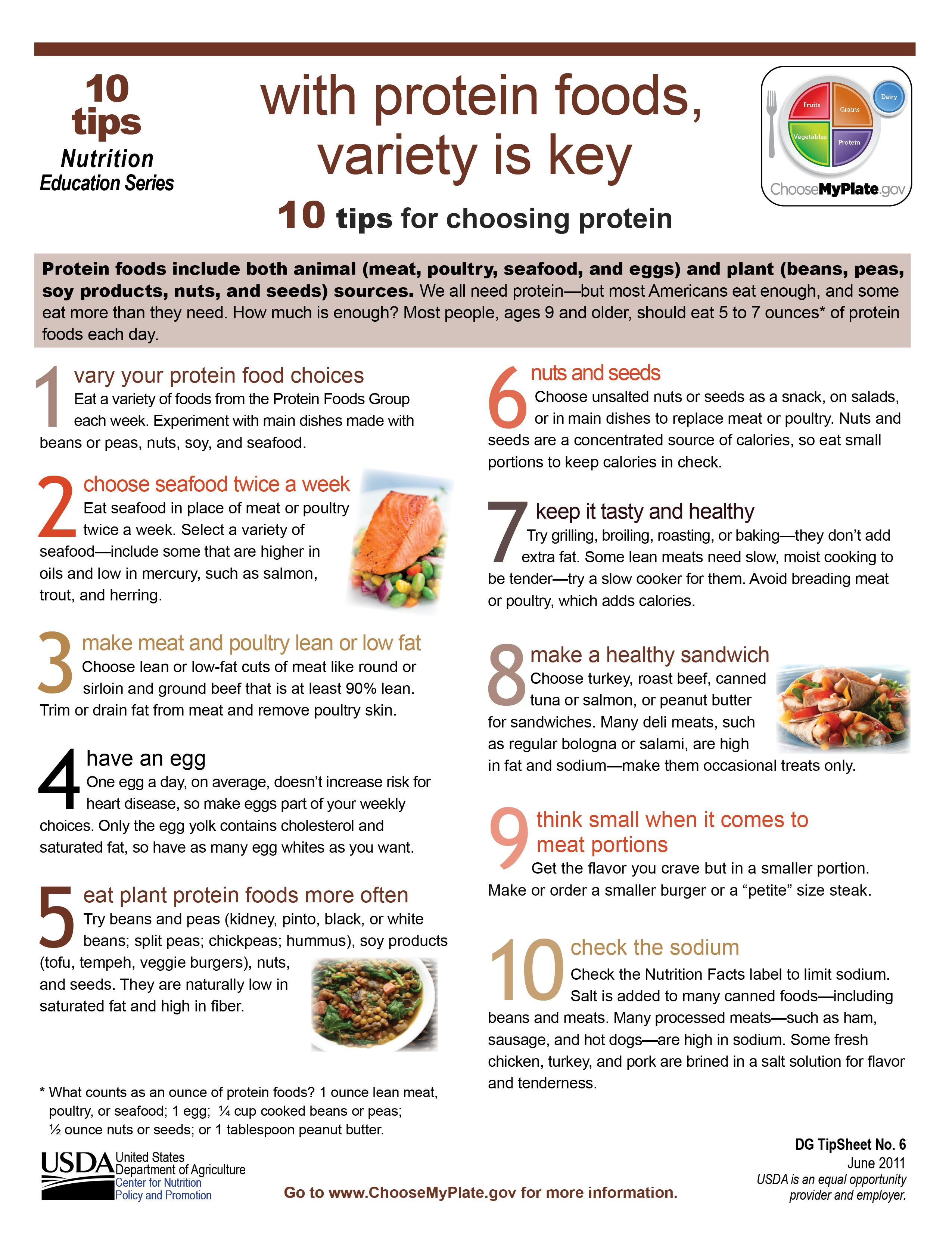 10 tips with protein foods variety is key