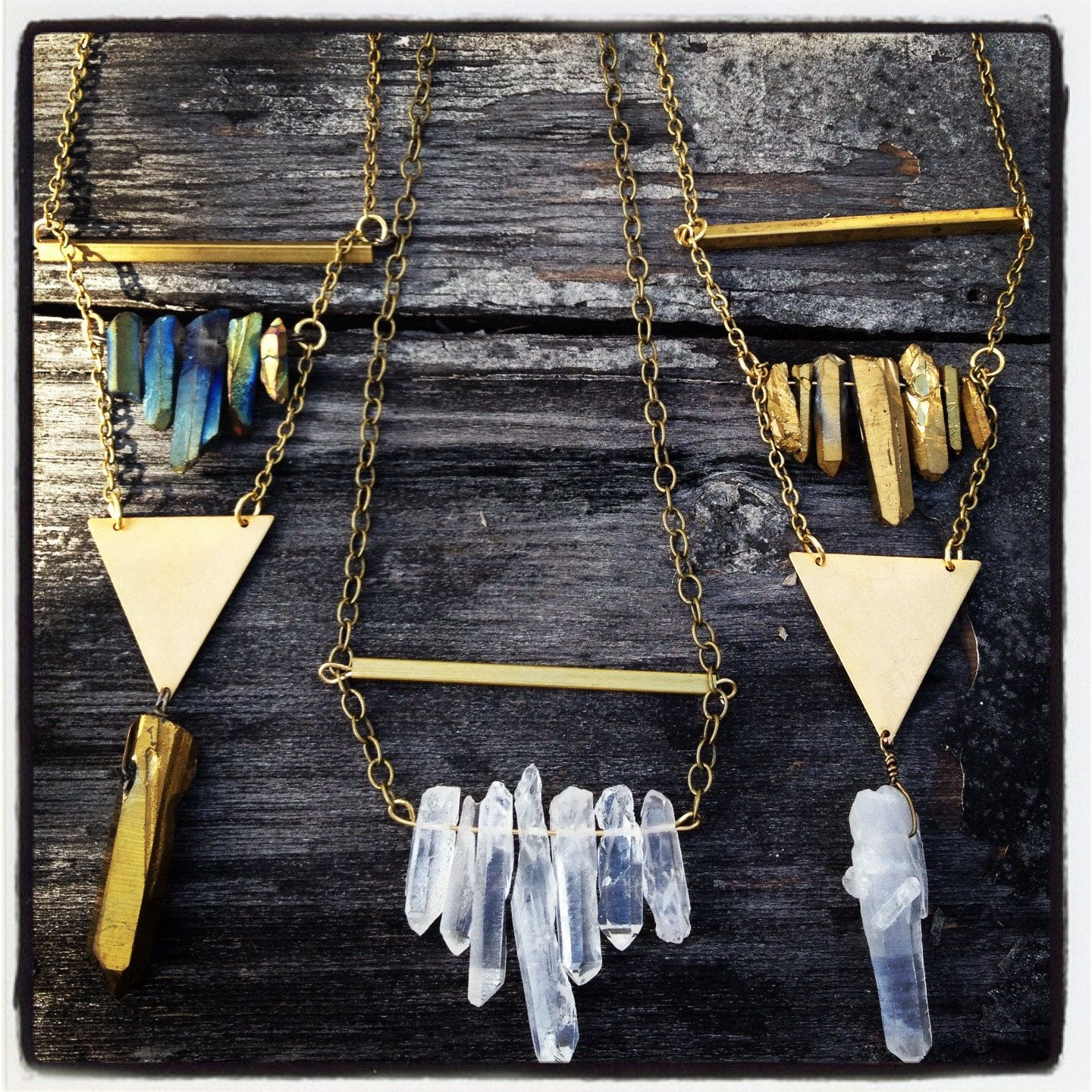 Photo of Items similar to Raw Brass & Clear Crystal Quartz Geometry Necklace – Gift Boxed on Etsy