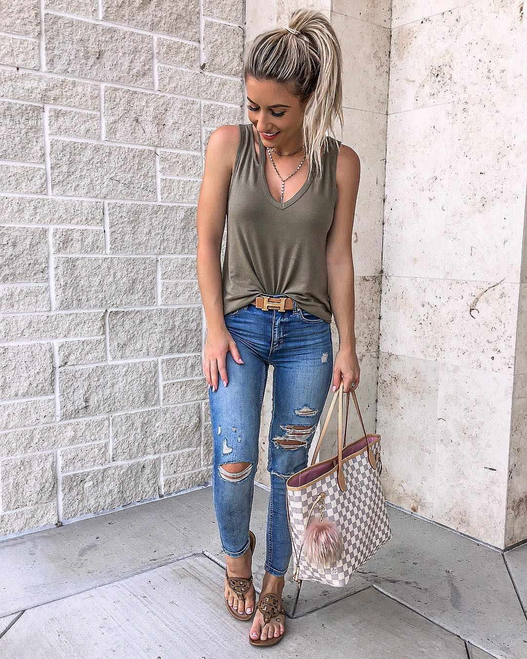 Cute casual outfit. Olive green tank and jeans | Cute ...