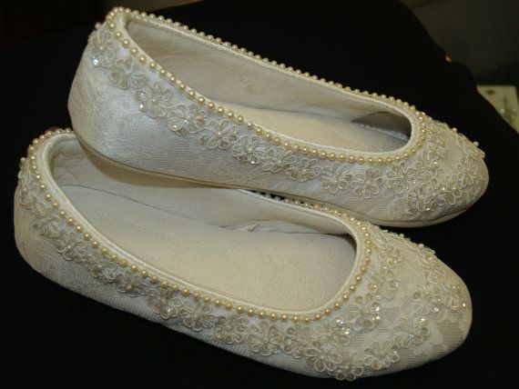 Wedding Ivory Flats Vegan Shoes Embellished with hand sewn pearls ...