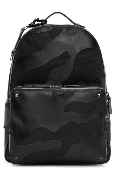 7eb3b6aaf3 Valentino - Black Leather   Canvas Camouflage Backpack