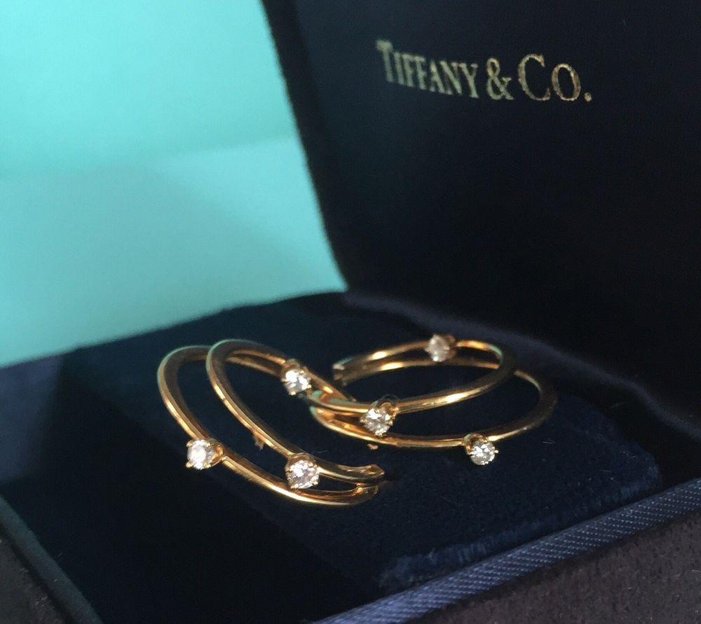 700000c6f 18k Tiffany & Co. Diamond & Solid 750 Gold Hoop Inside Out Style Earrings |  eBay