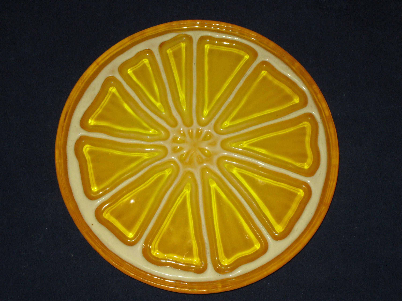 Trivet Orange Lemon Slice Resin Plastic Trivet Vintage Kitchen