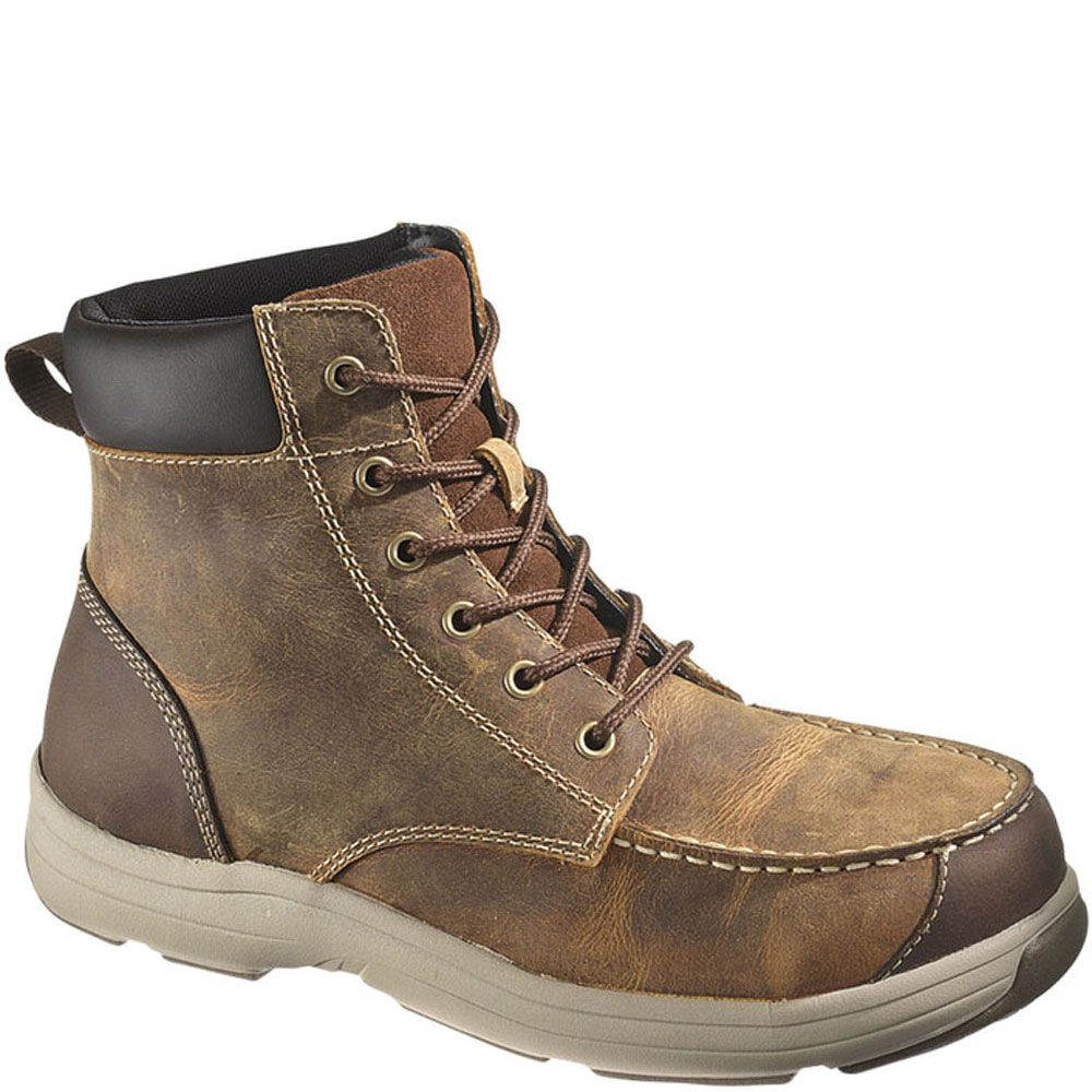 13021 hytest mens moc toe safety boots brown boots