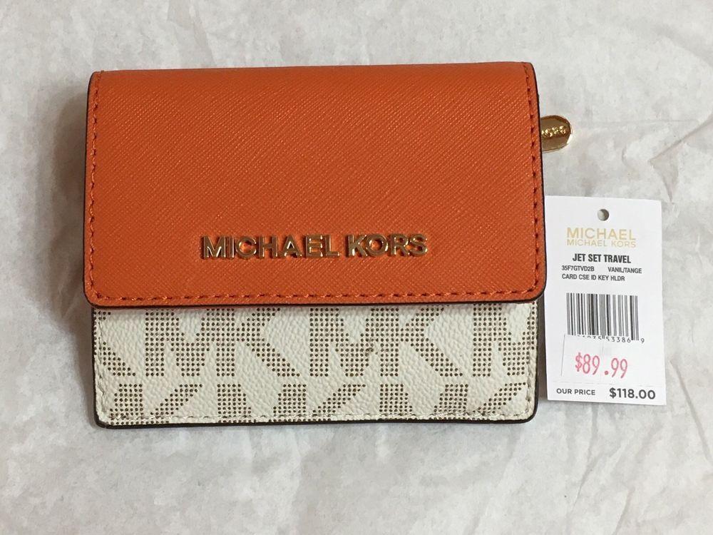 fd69a8298a296 NWT MICHAEL KORS Jet Set Travel Card Case ID Key Holder vanilla  tangerine