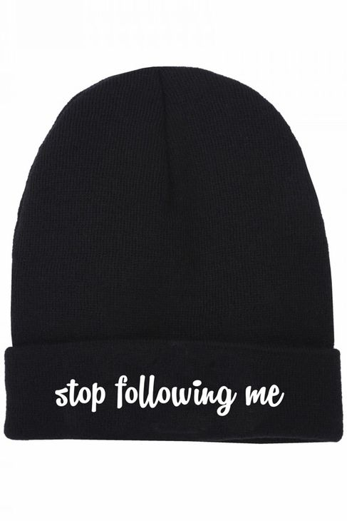 Local Heroes Stop Following Me Beanie in Black