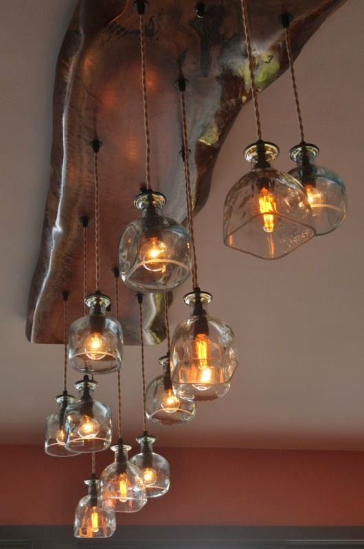 Recycled Patron Bottle Chandelier With