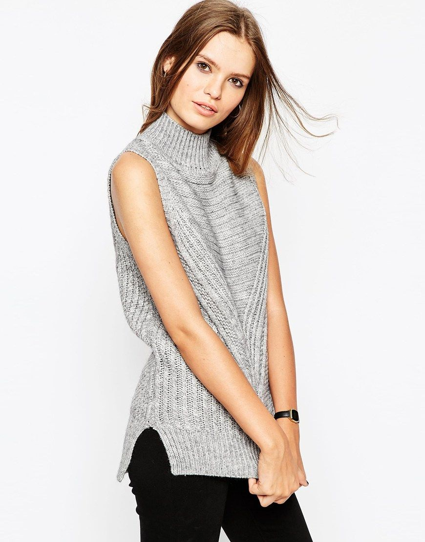 bb94c6ae61caf3 ASOS Sleeveless Sweater In Chunky Knit With High Neck