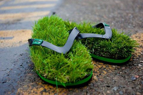 Walk on grass in flip flops