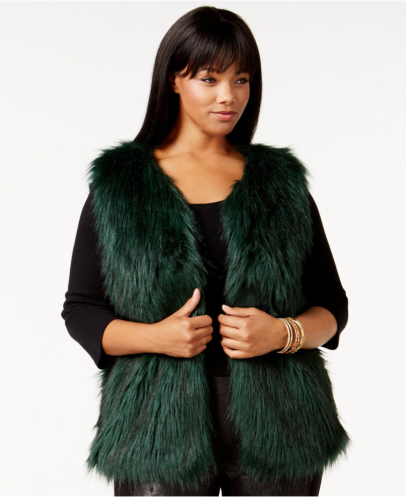 8e79d74edf1 Jessica Simpson Plus Size Faux-Fur Vest - Coats - Plus Sizes - Macy s