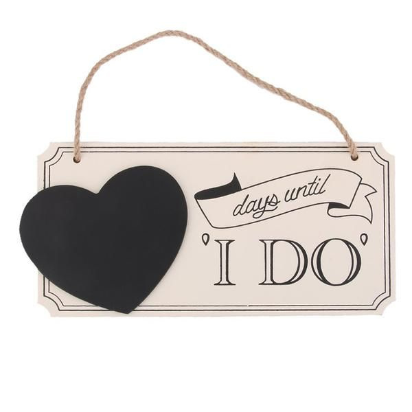 "Wedding Countdown Gifts For Bride: ""days Until I DO"" Wooden Chalkboard Wedding Countdown Sign"