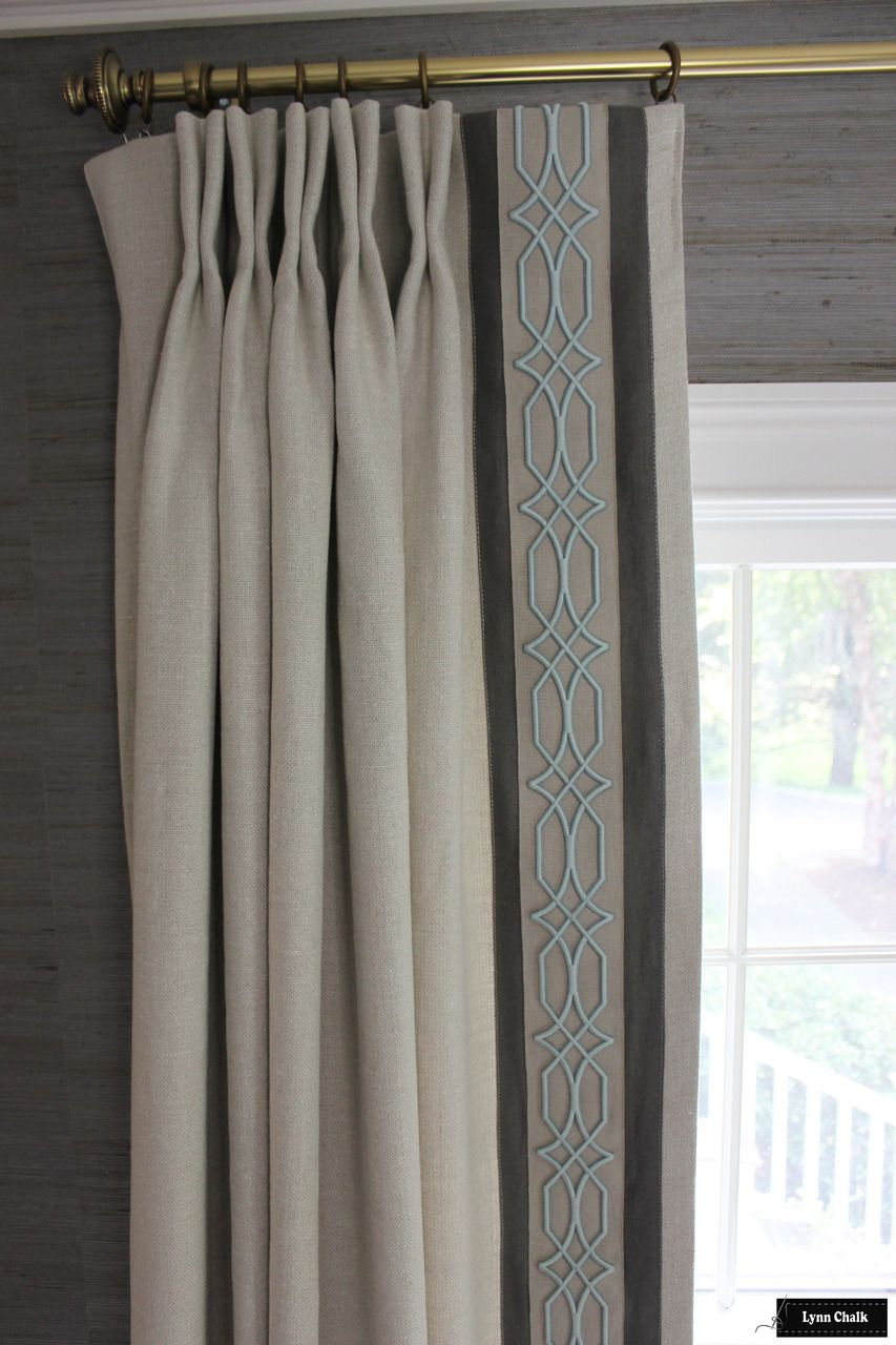 Dining Room Featuring Linen Drapes With Border And Trim In