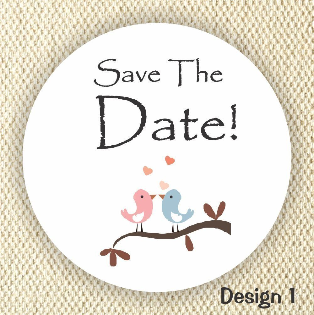 Save the Date Stickers - Wedding Stickers - Loving Birds - Wedding ...