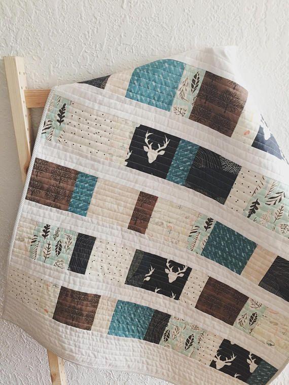 baby quilt handmade woodland quilt modern quilt toddler quilt nursery bedding