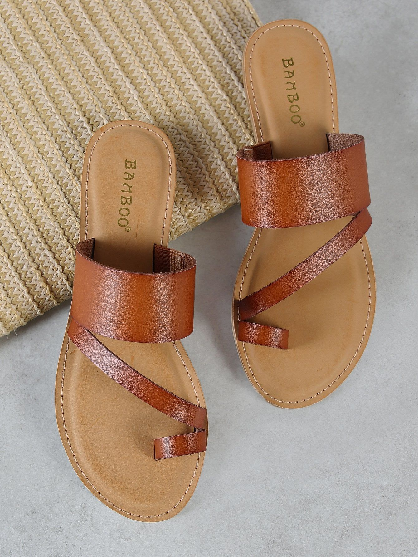 93cb87675 Online shopping for Strappy Slide Sandal with Toe Ring from a great  selection of women s fashion clothing   more at MakeMeChic.COM.