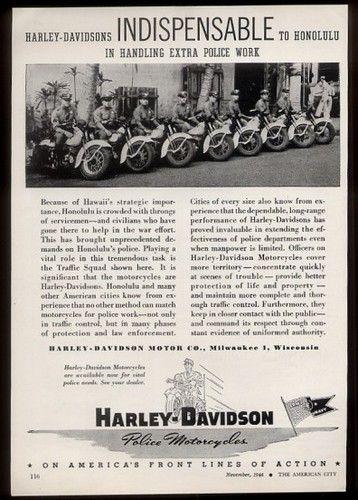 1944 harley-davidson honolulu hawaii police motorcycle photo trade