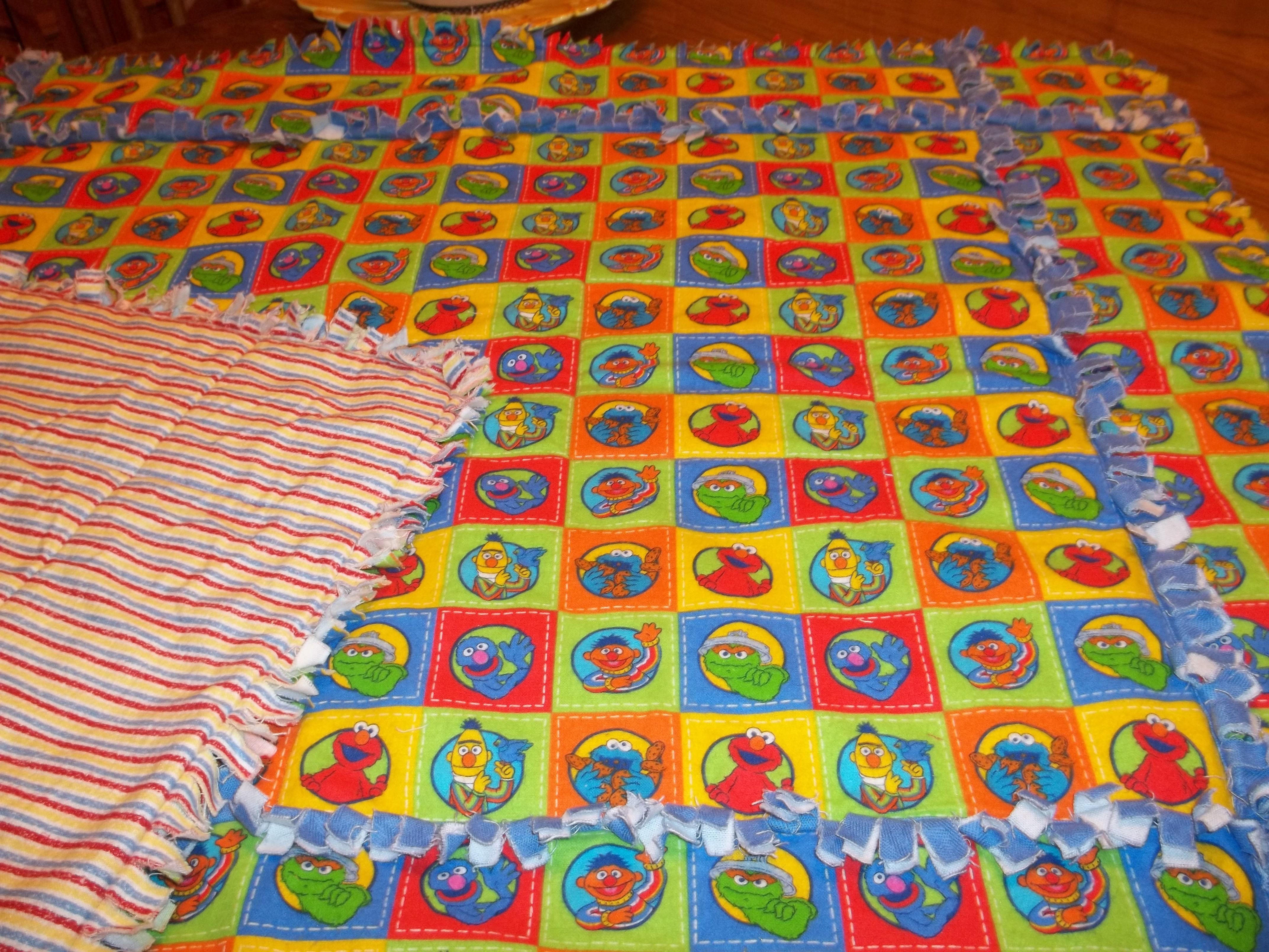 Homemade Sesame street rag quilt